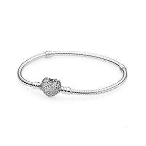 2020 nouvelle couleur argent européen coeur européen avec des bracelets PAVE blanc bracelet correspondent à votre charme perle diy Z009