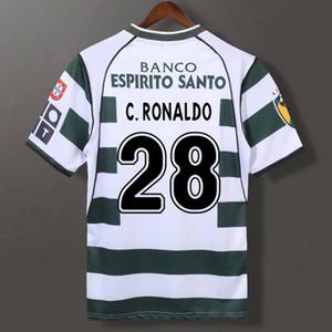 الرجعية الرياضية CP قميص 2002/04 لكرة القدم الفانيلة رونالدو جارديل خمر كرة القدم لشبونة لشبونة كلاسيكي كيت