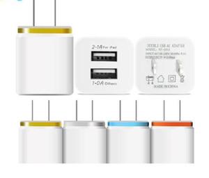 Metal Dual USB wall Charger Phone Charger US EU Plug 2.1A AC Power Adapter Wall Charger Plug 2 port for Ip