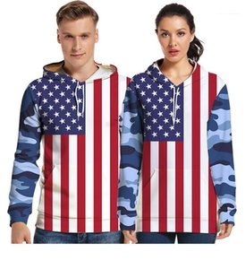 Autumn Designer American Flag Print Hooded Neck Pocket Sweatshirts Couple Fashion Clothes Teenager American Independence Day Hoodies Spring