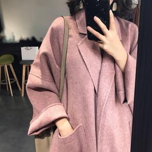 2020 nuovo autunno e di inverno di stile rosa Hepburn en lunghezza media stile coreano Loose Women cappotto di lana cappotto di lana di lana delle donne Ezmcd