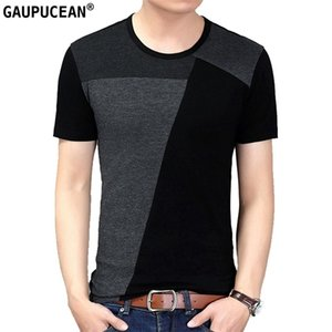 Men T Shirts 95% Cotton 5% Spandex Short Sleeve Asian Size Patchwork Fashion Grey O-neck Quality Short-sleeved Man T-shirts 0924