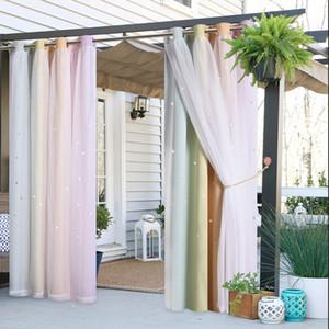 Camadas NICETOWN Outdoor Duplo Cortinas Estrela Waterproof Grommet Top Fashion Design cortina cortina de Quintal Pátio GardenBeach