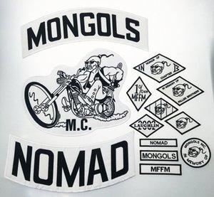 De calidad superior MONGOLES NOMAD MC motorista chaleco bordado Parche 1% MFFM en la memoria hierro en completa espalda de la chaqueta de Motorcyle de envío libre de parche cVQy #