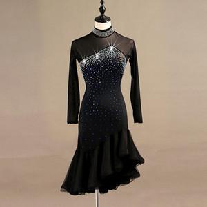 Латинский танец конкуренции платья женщины самба румба танго латинский танец платье кружева черный lq095