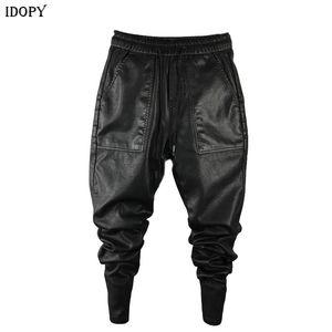 Quente Idopy `s dos homens de Inverno de couro falso Harem Pants Elastic cintura com cordão PU joggings Calças por Homem 200925