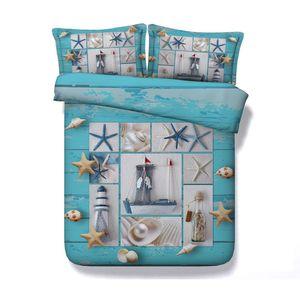 3D estrellas de mar Faro Drift Botella Imprimir funda nórdica con la funda de almohada de cama 3 piezas Set, microfibra Tapa de Consolador, cierre de cremallera