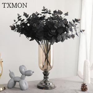 TXMON New simulation 5 branches 20 head eucalyptus decoration home desktop wedding decorations road lead artificial fake flower
