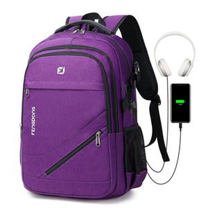 Кожа Камера Tag2020 Новый стиль Рюкзак Mens Business 17-дюймовый портативный компьютер сумка дорожная сумка Открытый USB Студент колледжа Рюкзак Женский