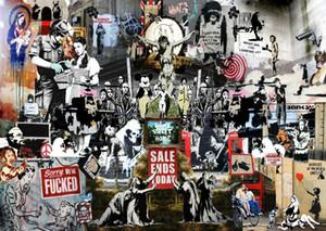 Banksy Collage Kunstgemälde Wand-Kunst-Ausgangsdekoration Handbemalte HD-Druck-Ölgemälde auf Leinwand-Wand-Kunst-Leinwandbilder 200