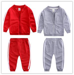 Baby-Mädchen Anzug 2Piece Kleidung Anzug Langarm-Zip Neck Jacken-Mantel-Top-Hosen-Hose Outfit Sport Herbst Sweatsuit LY814
