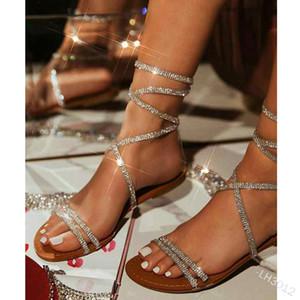 WePbel mulheres sandálias fivela de calcanhar plana com sandálias de cristais de cristal aberto