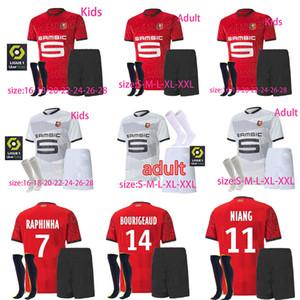 20 21 Rennes футбола Джерси мужчина дети наборы + носки Raphinha Ньянг терьер J.MARTIN Ренны BOURIGEAUD рубашка футбол установить форму
