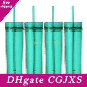 DHL acrilico bicchieri di plastica 16oz Bicchieri doppio isolamento -Pareti Juice Bicchiere di caffè Coppa con due Copri strato di paglia