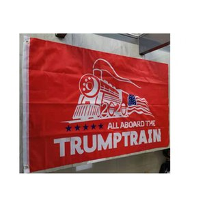Red Trump Train Flags 2020 , 100% Poleyster Fabric National Advertising , 100D Fabric Digital Printed, Free Shipping
