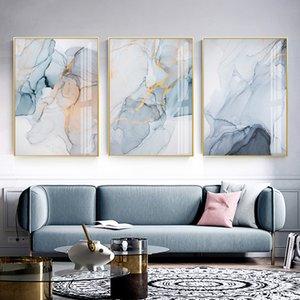 Hazy azul moderno Marble Abstract pintura da lona impressão Wall Art Poster Room Picture estar Quarto Decoração