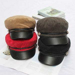Autumn Winter Women Vintage Corduroy Hats Leather Hat Lady Girls Outdoor Travel Warm Beret Hat Fashion Hats Army Cap