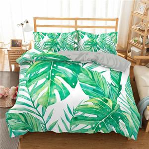 Têxtil 3d Set Adultos Quarto tamanho do coração Roupa de cama Cama Impresso Folhas verdes da planta Rei Tropical Início rainha KLhis