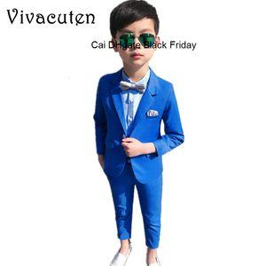 Fashion Boys Clothing Set Gentleman Kids Solid Cotton Blazer Pants 2pcs Formal Suits Children Wedding Suits School Costume F255