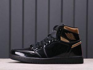 2020 New High OG en cuir verni Hommes Noir Metallic Gold Chaussures de basket-Top Qualité Jumpman Sport Baskets Sneakers des Chaussures