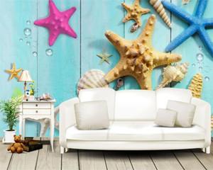 Akdeniz HD duvar kağıdı Mavi Ahşap Kurulları üzerindeki 3d Seascape Wallpaper Güzel Renkli Deniz Kabukları ve Denizyıldızı