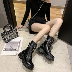 Autumn Women Boots PU Fashion Thick Bottom Cross Tie Buckle Zipper Platform Shoes Ladies Med Heel Boots