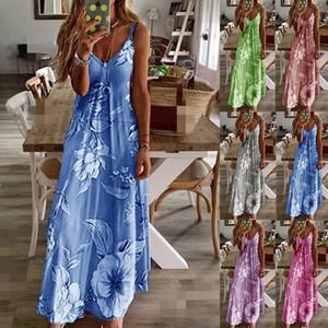 S-5XL Summer Casual Women's Dress Slim Long Flower Printed Suspender Spaghetti Skirt Floral Maxi Party Dresses Multi-pattern