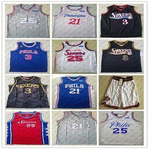 2020 HOMMES 76erscrême Philadelphia21 Embiid 25 Simmons 3 Iverson lycée Joel Ben Allen Jersey College Basketball Maillots de ville