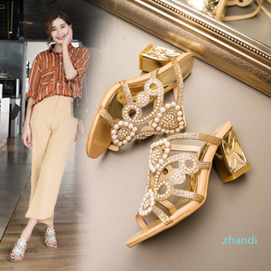 Hot sale-2018 Summer Mule Sandal Chunky High Heeled Pearl Embellished New Arrival Bohemian Style Glitter Party Dress Shoes