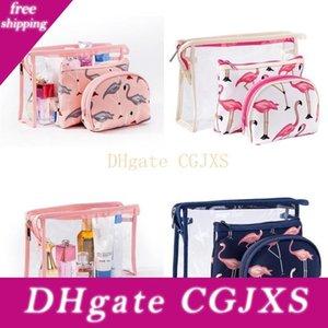 Kreative Flamingo Cosmetic Bag Kit Wasserdicht transparenter PVC-Wäsche-Beutel Lagerung im Freien Spielraum-Speicher 3 Stück im Set 11 5mq Uu