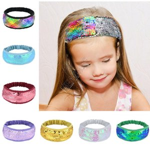 Bébés filles Mermaid Sequin Bandeau Femmes Filles Paillettes Snood Sweat Band Double Shinny flip Sequin Paillette Hairlace Turban Turban D82709