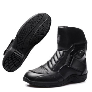 Motorcycle Racing Boots PU Leather Waterproof Riding Shoes SPEED Racing Mid-Calf Motocross Touring Protective Gears Botas Moto