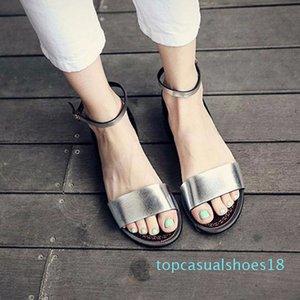 QWEDF argent Sandales plates Sandales solides Femmes souple plage Chaussures d'été Chaussons Argent Sandalias Mujer Femme Sandale A8-170 T18