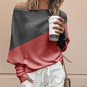 Sleeve Tshirts Fashion Stitching Colours Loose Tops Casual Womens Scoop Neck T shirts Designer Womens Long