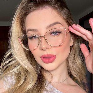 Металл Женщины против Blue Cat Eye Glasses Рамки для компьютера Vintage Clear Женского очков очки Blue Light Blocking Gafas 2020