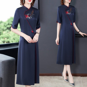 IIWf9 seda amoreira meados de comprimento vestido de saia bordada de Verão 2020 mulheres novo chinês emagrecimento vestido longo de seda