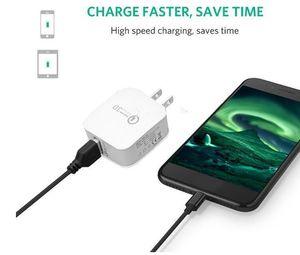Cgjxs QC3 0,0 adaptativo de carga rápida Carga Rápida adaptador del hogar del recorrido del cargador de pared con nosotros Eu Versión para Samsung HTC LG