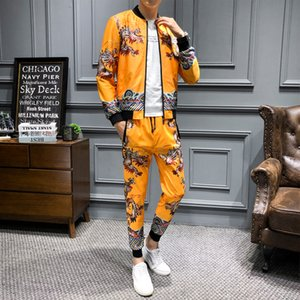 High Quality Jogging Homme Designer Clothing Men Yellow Gold Mens Plus SizeTwo Piece Sets Top And Pants Trainingspak Mannen Merk