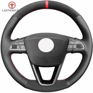 LQTENLEO Preto Couro Suede Steering Tampa para a roda Seat Leon 5F 3 2013 2019 Ibiza 6J Arona Ateca Alhambra 2016 2019 Corrida WTLB #