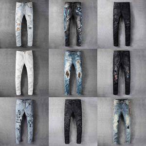 2020 En Yüksek Kalite Tasarımcı Erkek Amiri Jeans Lüks Denim Erkekler Moda Streetwear Biker Delik Batik Man Popüler Hip Hop Jean Pantolon Ripped