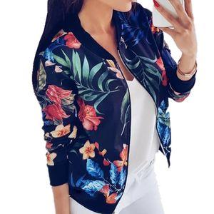 LOSSKY Retro Floral Print Women Coat Casual Zipper Up Bomber Women's Autumn Long Sleeve Outwear Jacket Coats Ladies Clothes 2020