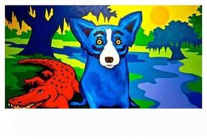 Большая расписанной HD Печать Джорджа Rodrigue животные голубой собака ЖИВОПИСЬ Wall Art Home Decor на холсте несколько размеров Варианты рамы A174
