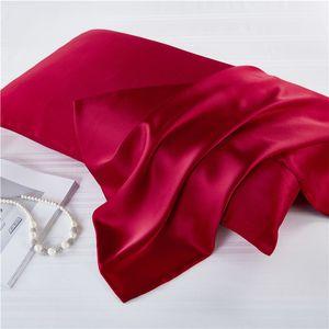 2pcs / set 100% cubierta de la caja de la mora de seda natural de la cremallera de almohada fundas de almohada de seda real del cojín de raso Para el hogar Ropa de cama 51 * 76cm