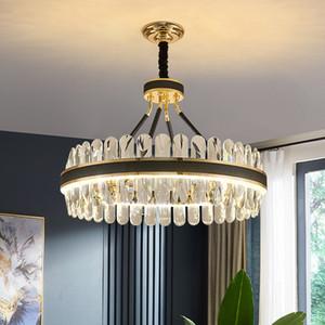 LED Postmodern Round Oval Crystal Chandelier Lighting Lustre Suspension Luminaire Lampen For Dinning Room AC 90-260V