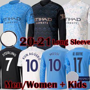 Manchester City 2020 2021 maglie da calcio DE BRUYNE KUN AGUERO maglie da calcio MAHREZ maglia da calcio Manchester BERNARDO SILVA SANE GUNDOGAN City 20 21 Kits per bambini