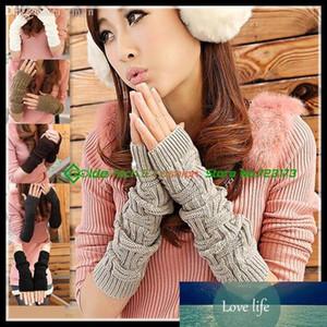 Gros-femmes filles hiver au chaud en tricot jacquard Manchettes Gants Fingerless bras long Warmers Mitaines Gants
