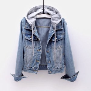 Vintage Denim Jacket Women Autumn Coat Ripped Hooded Outerwear Coats Windbreaker Basic Boyfriend Female Jeans Jacket Plus Size