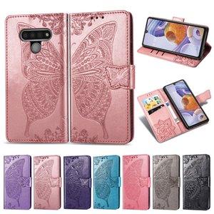 Handphone pour LG PU cuir 6 Stylo Couverture Béquille gaufrée Fleur papillon avec boucle magnétique (Modèle: STYLO6)