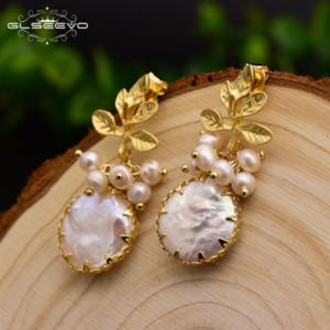 UKhDY GLSEEVO 925 серебро уха шпильки естественного барочного ляпис серьга earringsPearl earringslazuli ветвь серьга женщина ювелирных изделия GLSEEVO 925 SILV