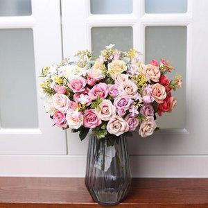 5 Forks simulato Rose Bouquet Fiore Fotografia Puntelli artificiale Composizione di fiori fai da te del salone della casa del partito Ornamento